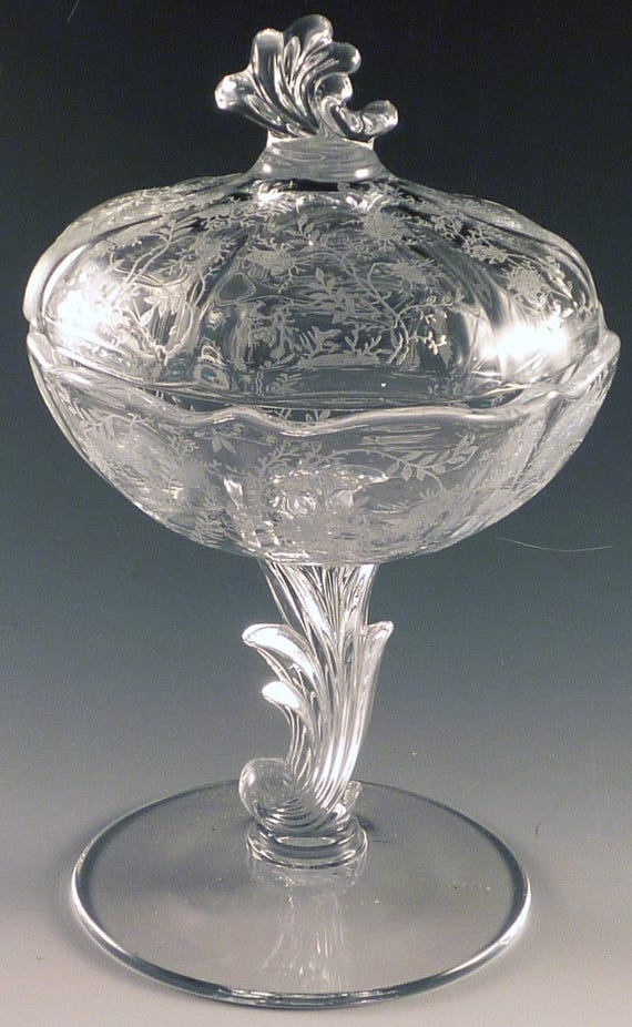 Fostoria chintz etched crystal jelly comport with lid elegant for Clear baroque glass