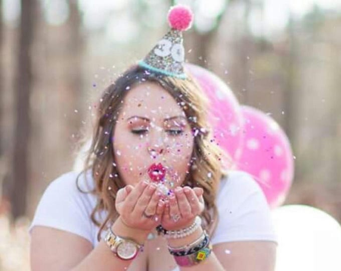 Glittery birthday Hat | Party Hat | 30th Birthday | First Birthday | 21st Birthday | Birthday Party Decor, 40th Birthday