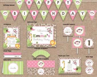 Jungle 1st Girl Birthday Monkey & Animals Package, Safari Zoo, DIY Printable