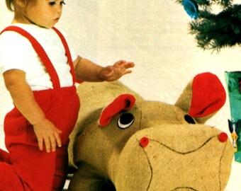Vintage Sewing Pattern Hippopotamus Hippo  Soft Toy  Plush   Zoo Animal Safari