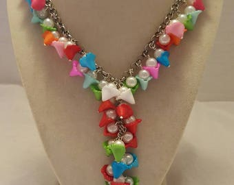 Flower Necktie Necklace Flower Necklace Necktie Necklace Women's Necktie Necklace Statement Necklace One Of A Kind Necklace Multicolored