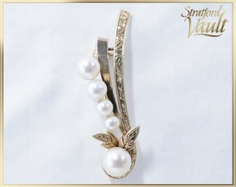 Cultured Pearl Brooch ~ 14K Yellow Gold Scrolled Setting ~  3.9 - 6.9mm Genuine Cultured Pearls ~  Vintage 1970's ~ STR16051 ~ GIA ~ 1000.00