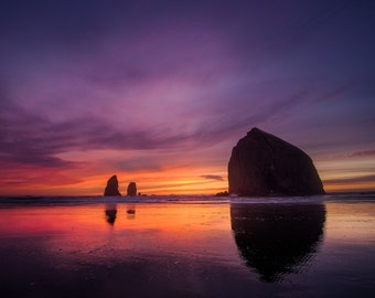 Oregon Coast Sunset Photography, Cannon Beach, Haystack Rock, Canvas, Pacific Northwest, Wall Decor, Fine Art, Oregon Landscape Photography
