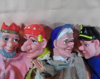 Vintage Set of 4 Punch and Judy Puppets, Rubber Headed Glove Puppets, Hand Puppets, Retro 70's Puppets