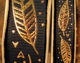 """2 Yards 3/8"""" or 7/8"""" US Designer Navy Blue w/Gold Foil Feathers - Quill Print Grosgrain Ribbon"""