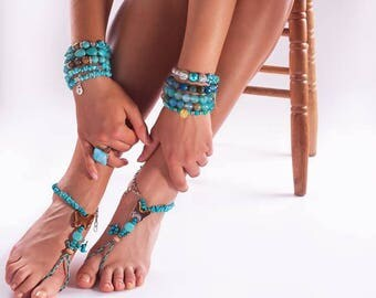 Barefoot Sandals Set 2 Turquoise Raw Gemstone Foot Jewelry Blue Anklet Cut Rough Healing Stone Crystal Boho Bohemian Beach Sandal Butterfly