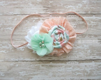 Peach headband, peach and mint, mint headband, Easter headband, newborn headband, flower girl headband, peach baby headband