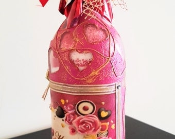 Decorative Bottle Hand Painted Bottle Decorated Bottle Valentine Gift