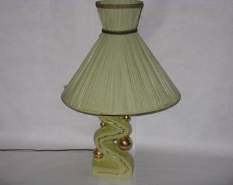 Mid Century Modern table lamp ceramic green gold plastic original shade