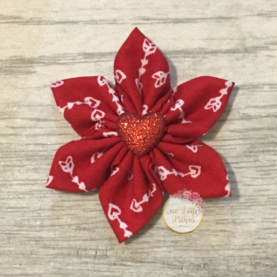 Large valentines day cupid hearts fabric flower headband | baby girl | hand sewn
