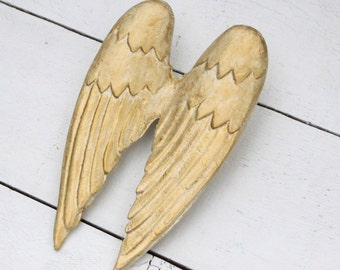 Angel Wings Wall Decor - Shabby Cottage Chic Ivory Gold Angel Wings - Metal Wings - Angel Nursery Decor - Painted Wings Wall Hanging