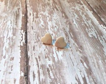 Porcelain Heart Earrings//Stud Earrings//Bohemian Minimalistic