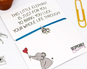 Lucky Elephant Friendship Bracelet - Good Luck card - Good Luck bracelet - Good Luck charm - Elephant bracelet - Valentines card - BFF Gift