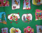 Vintage How the Grinch Stole Christmas Fabric 2 Yards Brilliant Colored Scences Cindy Lou Who