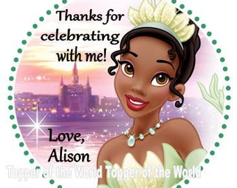 12 Personalized Princess and the Frog Princess Tiana Disney Birthday Party Favor Thank You Tags or Stickers You Choose