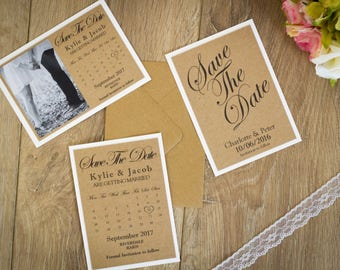 Handmade Save the date cards, Invitation, Vintage Kraft, wedding save the date cards