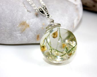 White Baby Breath Resin Necklace.  Real Pressed Flower Encased in Resin.  Gift for Her.  Romantic Real Resin Hemisphere Pendant.  Wedding