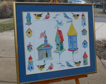 Large Watercolor of Birdhouses & Birds