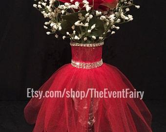 Centerpiece Wedding Vase Couture Red