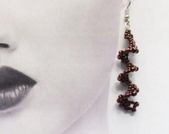 Earrings, Spiral, Metallic Finish Glass Beads