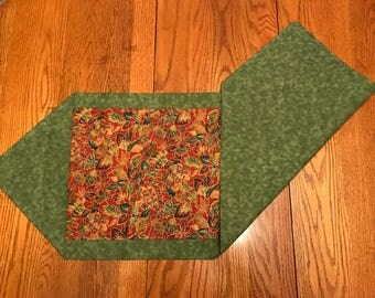 Green and Burnt Red Leaf with Gold Accents Table Runner