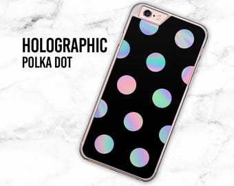 Holographic Polka Dot iPhone Case, Iridescent Polka Dot iPhone Case, Samsung Galaxy Case, Polka Dot iPhone Case, iPhone 7 Case, S6 Case