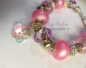 European charm pink and lilac bracelet, crystal beads, enamel flower beads silver plated, butterflies, gift for her