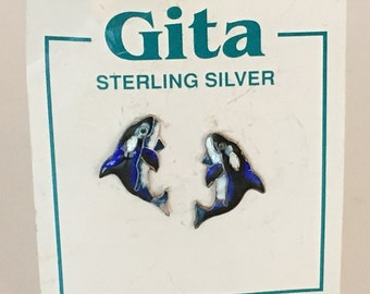 Gita Enamel Whale Post Earrings 925 Sterling Silver