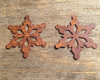 """2"""" Rusty Tin Snowflake. Package of two (2). Tin Snowflake. Rusty Tin. Rusty Tin Embellishments. Metal Snowflake. Rusty Metal Snowflake."""