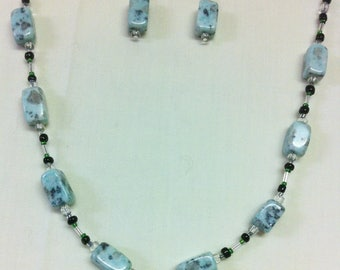 Green Banded Agate Necklace & Earring Set