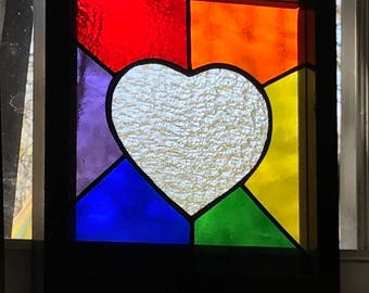 Stained Glass Rainbow suncatcher, Stained glass suncatcher, Stained glass panel