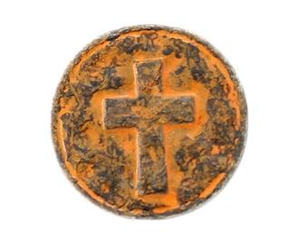 Cross Metal Buttons - Rust Patina Cross Heraldry Metal Shank Buttons - 15mm - 5/8 inch - 6 pcs