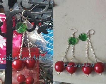 Large Retro Cherry Earrings with Red Faux Pearl Beads, Green Leaves & Silver Chain on Silver Earring Hooks or Leverbacks
