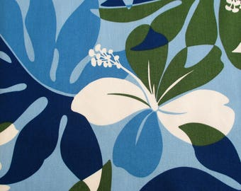 Fabric, Hawaiian Island Hibiscus and Ferns in Blues and Greens,Tropical Floral, Last 28 Inches