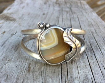 Sterling Silver Cuff, Silver Cuff Bracelet, Agate Cuff, Gemstone Bracelet, Stone Bracelet, Sterling Silver Bracelet, Silver Bangle