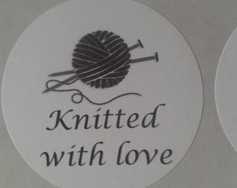 Knitted with love stickers, knitting stickers, handmade stickers, uk sticker seller, wool stickers, craft stickers, round stickers, knitting