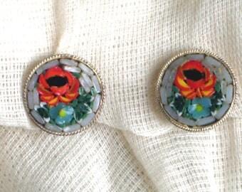 Vintage mosaic clip on floral earrings, flower earrings, vintage earrings, Italian mosaic, vintage jewellery