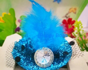 Puppy Bows ~ Girl or Boy FANCY DRESS UP feather hats Blue purple pink or red dog bow barrette ~Usa seller