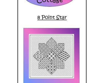 Blackwork Embroidery Chart ~ 8 Point Star ~ PDF Chart