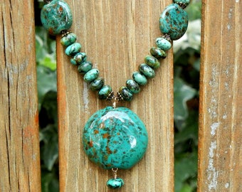 African Turquoise Necklace African Clay Pendant & Matching Coin Beads Earthy Boho Style Statement DN362