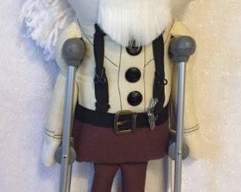 "Creepy n Cute Zombie Doll - ""Hershel ~ S3 1/2 Leg with Crutches"" - Inspired by TWD (P)"