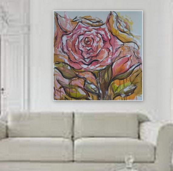 """large floral painting shipped on gallery wrapped wood frame 36"""" x 36"""" original acrylic painting by Marcy Chapman large pink wall art"""