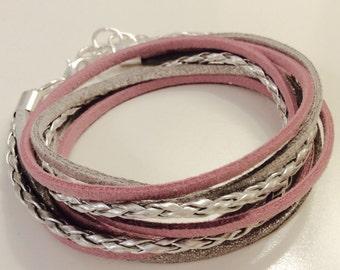 Yoga Bracelet - Mauve, Silver & Metallic Grey