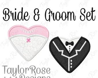 Heart Bride & Groom Set Applique Machine Embroidery Designs 4x4 5x7 Wedding Dress Tux Tuxedo INSTANT DOWNLOAD