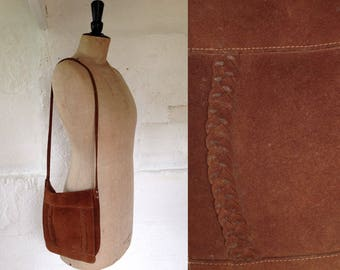 1960s Caramel Suede Folk Shoulder Bag with Plait Detail / Vintage Shoulder Bag / Vintage Bag