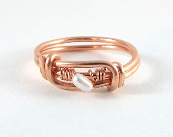 Raw Pearl Wire Wrapped Ring Rose Gold