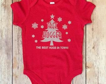 NEW! Christmas Tree Hugger, Onesie, Happy Holiday's, Baby Yoga, Bodysuit, Yogini, Yoga Gift, Boy or Girl