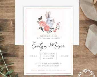 Baby Shower Invitation | DIY Printable or Printed+Shipped | Bunny | Floral | Watercolor | Rabbit | 5x7"