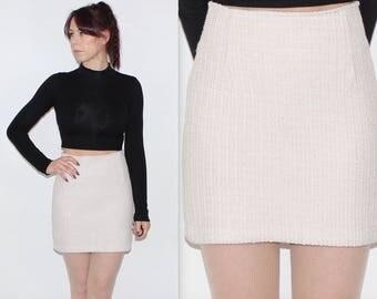 "Vintage 1990's Cream Silver STRIPED HIGH WAISTED Short Mini Skirt Size 8 Waist 25"""