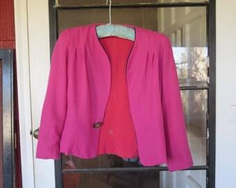 "SALE Vintage 1950s pink black jacket blazer red silk lining Original by Crance New Haven, IN bust 35"" waist 30"" (101216)"